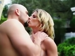 Ardent pallid MILF with perfect big titties is so into outdoor analfuck