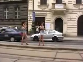 Pissing Her White Panties In The Street