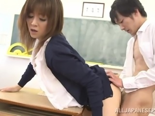 Japanese teacher Arisa Misato gets banged doggy style at her work place