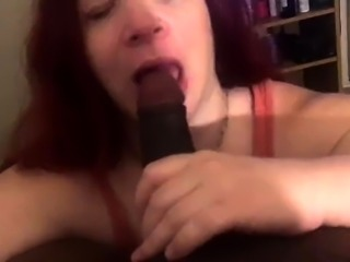Curvy redhead jap MILF giving blowjob and titjob in POV