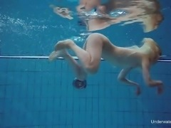 Almost titless nympho Milana Voda and her kinky nude underwater show