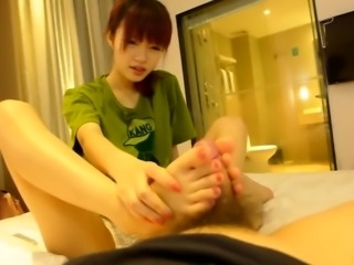 Beautiful Asian babe gives a blowjob and gets drilled hard