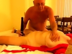 Horny mature wife with big natural breasts strokes a cock
