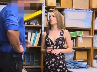 Sexy thief moaning on security guards cock