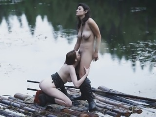 Lesbian adventures on wooden raft