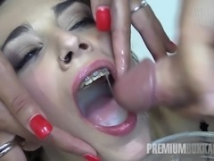 Young Spanish girl participates in a blowbang orgy where she swallows tons of...