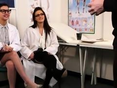 Gorgeous UK nurses help patient to shoot cum