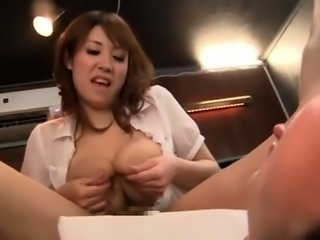 Busty Asian lady milks her nipples and enjoys some hard meat
