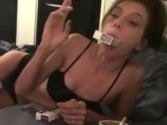 Elizabeth Douglas Eve 120s cigarette on webcam