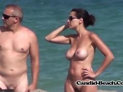 Nice Shaved pussy nudist tattooed milf voyeur beach spycam