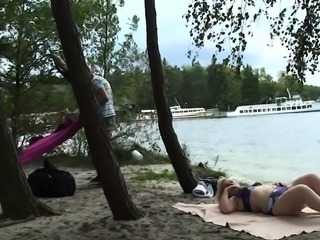Old grandma and teen boys 3some outdoors