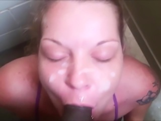 Public bathroom bj and facial cumshot