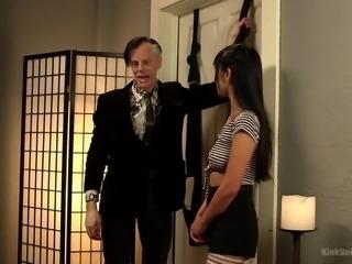Lubed cock of white bastard penetrates tight pussy of Japanese slut Marica Hase