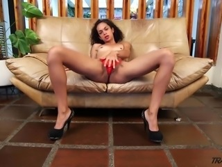 Zealous and all alone shemale Bella Rosario is ready to polish her own anus