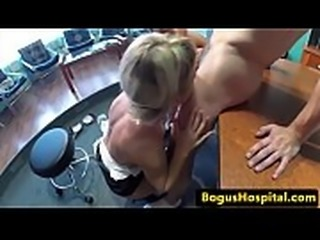 Patient cutie sucking cock in threesome
