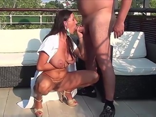 Hot hairy  nurse outdoor