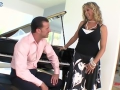 Lewd 45 yo housewife Amber Lynn Bach is ready to ride firm cock on top
