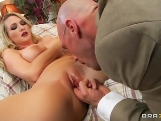 Blake Rose is a hot blonde with big boobs who is feeling a bit under the weather and needs a doctor to consult her. Well you can understand doctor Johnny's predicament with a hot patient such as her in his hands. Lucky for him she lets him check her temperature by sticking a finger in her pussy!