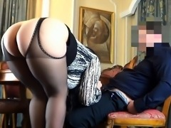 Big breasted milf in lingerie takes a meat pole up her ass