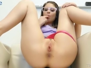 Naughty nerdy gal Marina Woods makes dude groan while riding him