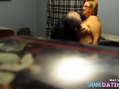 Fondling unaware wife