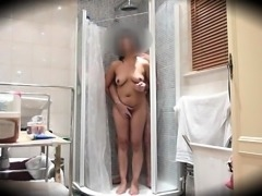 Busty mature wife having fun with her lover in the shower