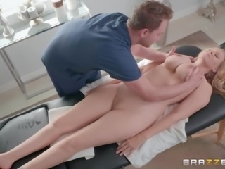 handsome masseur squeezed her huge tits and licked her pussy