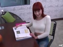 Kinky redhead Alexa Nova loves to read and to be analfucked hard