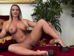 Busty girl dances on the stage