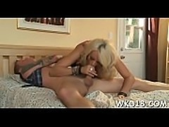 Breathtaking gal takes rod in mouth and gives great fellatio