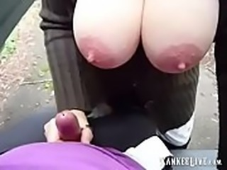 Big Nipples Gives A Handjob Outdoors