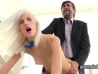 Cute schoolgirl is tempted and drilled by elderly tutor10UDE