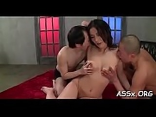 Bounded oriental receives salacious anal and snatch toying