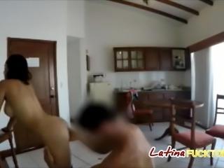 Fake boob Latina slut fucks with shoes on