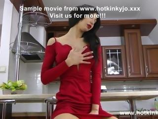 Hotkinkyjo red dress anal fisting