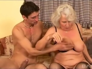He fucks a slutty grandma three times his age and cums in her mouth
