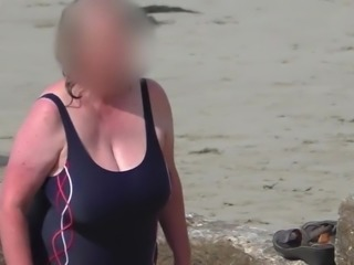 huge tits bbw granny in the blue swimsuit