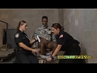 Fake soldier gets his cock ridden by officers who take advantage of him