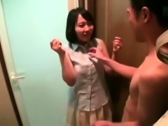 Sweet Asian schoolgirl with perky boobs enjoys a hard dick