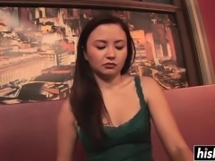 Asian hottie makes a black dick disappear