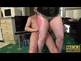 Fat bound sub rides cock
