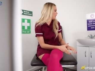 Ashley Jane is fabulous blond haired nurse who is ready to flash butt