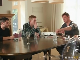 Rebecca's so horny right now, even masturbating isn't doing it for her. Her husband Danny is downstairs playing poker with the guys, and she can't take it anymore. Instead of asking for him, she just comes down and starts sucking his dick, then bending over the table. The others take the hint and go.