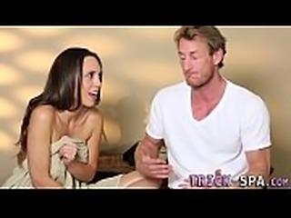 Massaged babe tricked to suck