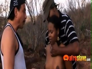 Couple of angry studs fuck submissive African ebony
