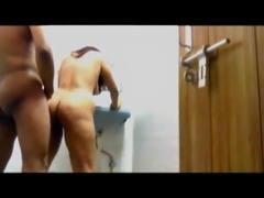 Indian couple in bathroom standing fuck