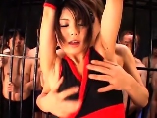 Sexy Asian babe gets fucked and facialized by a gang of guys