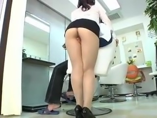 Asian Japanese female barber fingered by man in a haircut Pt