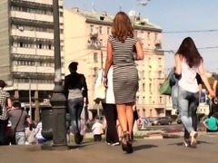 Sexy slender European teen in high heels upskirt outside