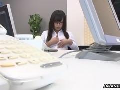 Too busy Japanese office slut Mikuru Mio gets her wet pussy masturbated